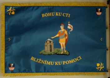 Printed banner of the Volunteer Fire Brigade (SDH) Pletený Újezd, back side
