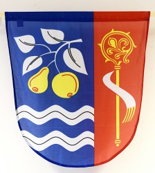 Smaller version of printed banner of arms