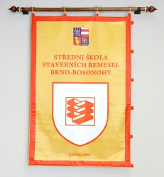 Ceremonial double-sided printed satin banner of SŠSŘ Brno – Bosonohy