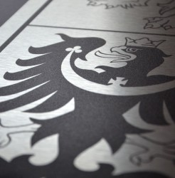 Close-up of the greater coat of arms of the Czech Republic made of aluminum sheets (dibond)