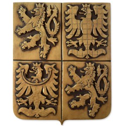 Greater coat of arms of the Czech Republic made of plaster with patina