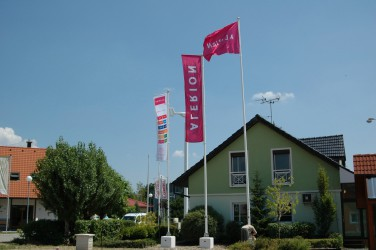 Flagpoles for outdoor printed flags