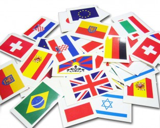 Stickers with various country flags