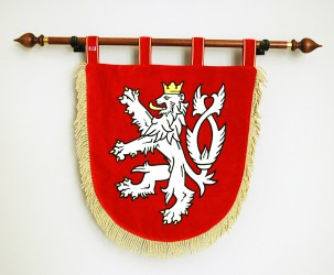 Embroidered ceremonial lesser coat of arms of the Czech Republic