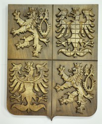 Hand-carved greater coat of arms of the Czech Republic