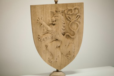 Hand-carved lesser coat of arms of the Czech Republic
