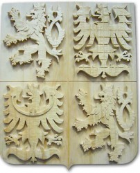 Wood carved coat of arms of the Czech Republic in light color version