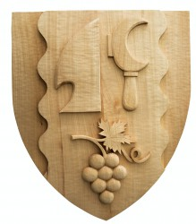 Wood carved coat of arms for villages / towns / townships