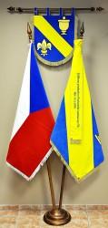 Embroidered banner of arms, flag, ribbon, velvet flag of the Czech Republic