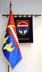 Embroidered symbols made for Rudolec (banner of arms and flag)