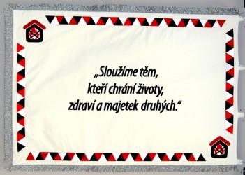 Embroidered ceremonial flag made for Požární bezpečnost (fire safety)