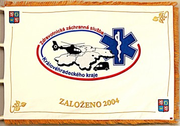 Obverse of the banner of the Emergency Medical Services of the Hradec Králové Region (ZZS KHK)