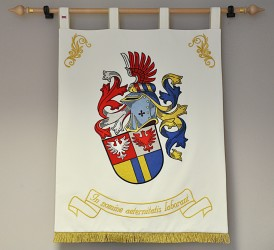 Embroidered banner of arms of our company