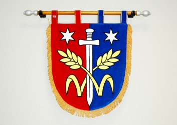 Shield-shaped embroidered banner of arms made for Třebovle