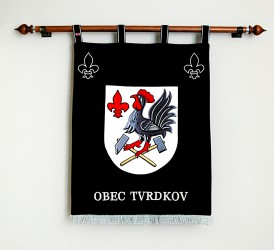 Embroidered banner of arms made for Tvrdkov, large version