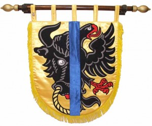 Embroidered banner of arms for Bystřice nad Pernštejnem
