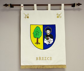 Embroidered banner of arms made for Březce, large version