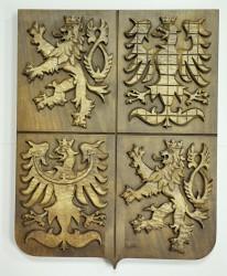 Dřevěný vyřezávaný velký státní znak České republiky