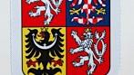 Stolní vlaječka s velkým státním znakem ČR, stojánek