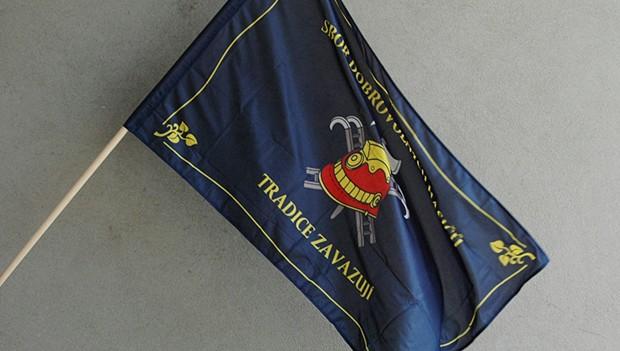 Venkovní tištěné hasičské vlajky se znakem a názvem sboru